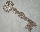 Large Castle Key Stamping, Victorian Key Pendant, Brass Stamping, Skeleton Key, Medieval Key, Silver Key, Brass Key, Gothic Key