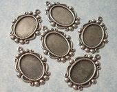 6 Victorian Settings for 14 x 10mm Cabochons Necklace Pendant Charms