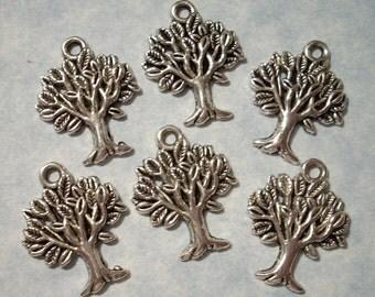 6 Tree Charms 17mm x 22mm Tree Charms Small Tree Pendants
