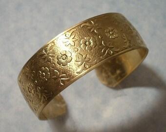 Unfinished Raw Brass Flower Design Cuff Bracelet