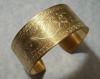 Unfinished Raw Brass Cuff Bracelet Blank Floral Cuff