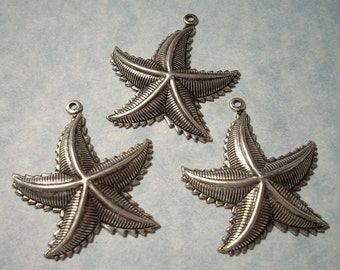 Starfish Pendants Large Starfish Charms Antique Silver over Brass 3pcs