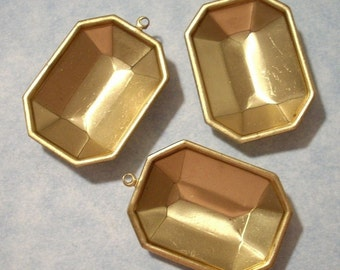 25mm x 18mm Octagon Settings with Top Loop Brass (3 pieces)