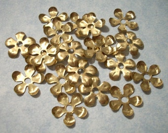 20 Raw Brass Flowers - 14mm Stackable Flowers with Center Hole