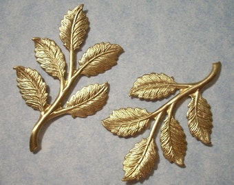 2 Brass Leaf Stampings 51mm