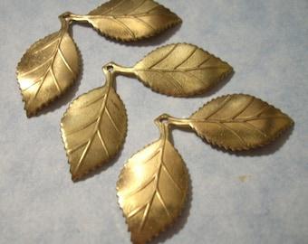 3 Brass Leaf Pendants Leaf Charms
