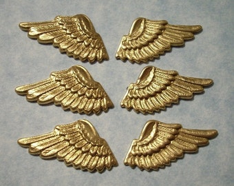6 Raw Brass Angel Wings Stampings