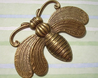 Large Oxidized Brass Bee Stamping Necklace Making Pendant