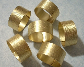 6 Brass Brush Pattern Wide Rings - Adjustable Ring Blanks Raw Brass Rings
