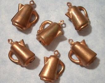 6 Vintage Copper Coffee Pot Charms