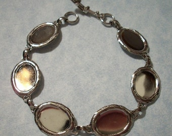 Sterling Plated Bracelet with Six Oval 14 x 10mm Settings