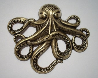 Large Brass Ox Octopus Stamping Octopus Pendant