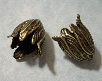 2 Large Oxidized Brass Blooming Tulip Beads - Jewelry Supplies by Charms Galore
