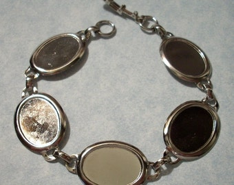 Sterling Plated Bracelet Blank with Five Oval 18 x 13mm Settings