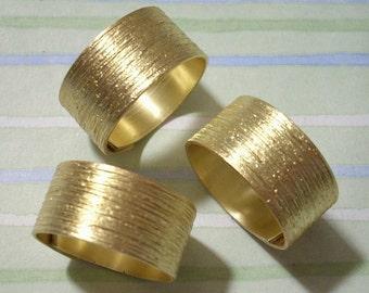3 Brush Pattern Brass Ring Blanks Adjustable Rings
