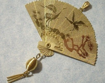 Large Asian Fan Pendant Charm - Opens and Closes - Folding Fan Pendant