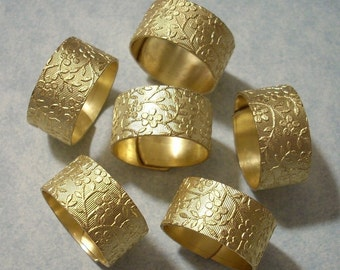 12 Brass Ring Blanks Floral Rings Flower Pattern Wide Rings Solid Brass Rings