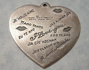 Large International I LOVE YOU Multi Language Silver Plated Brass Heart Pendant