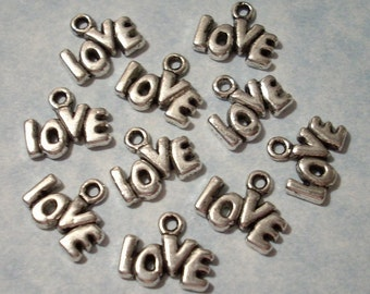 10 Love Charms - 13 x 9mm Word Charms