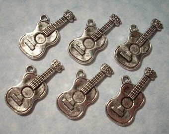 6 Acoustic Guitar Charms 13mm x 26mm