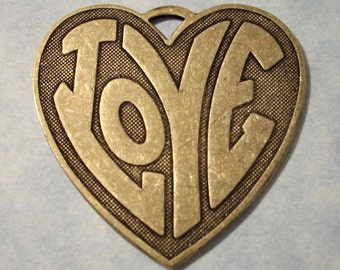 Groovy 60's 70's LOVE Heart Pendant Solid Brass