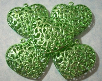 5 Large Green Filigree Hearts Puffed Heart Pendants