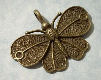Butterfly Pendant 41 x 32mm Antique Bronze Tone