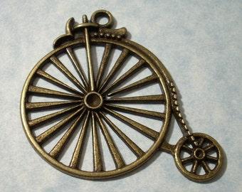 Penny Farthing Pendant - 51 x 44mm - Antique Bronze Bike Pendant