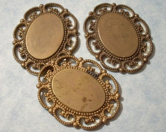 3 Vintage Brass Heavy Weight 18 x 13mm Cabochon Settings With Scroll Border Flat Back
