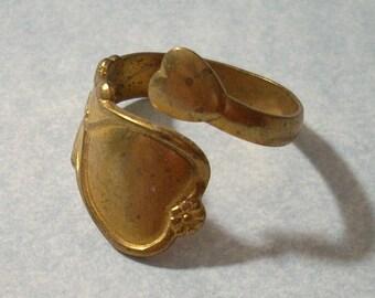 Vintage Brass Heart Ring - Adjustable Spoon Ring