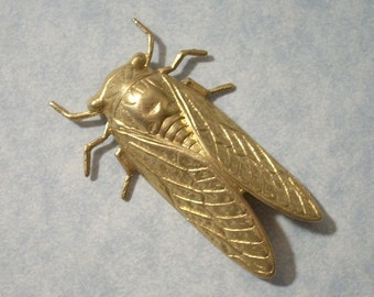 Brass Cicada Stamping Bug Charm Jewelry Supplies by Charms Galore