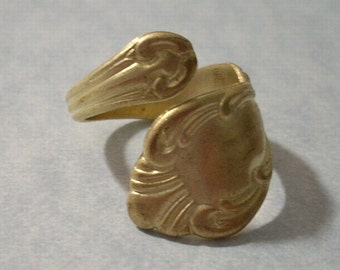 Unfinished Raw Brass Adjustable Spoon Ring