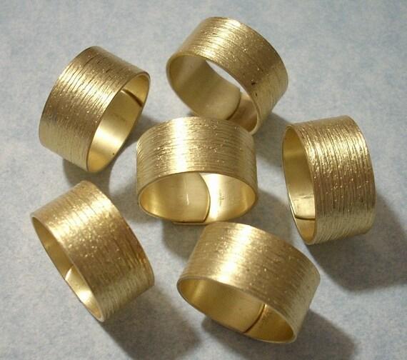 6 Brass Brush Pattern Wide Rings - Adjustable Ring Blanks Raw Brass Rings