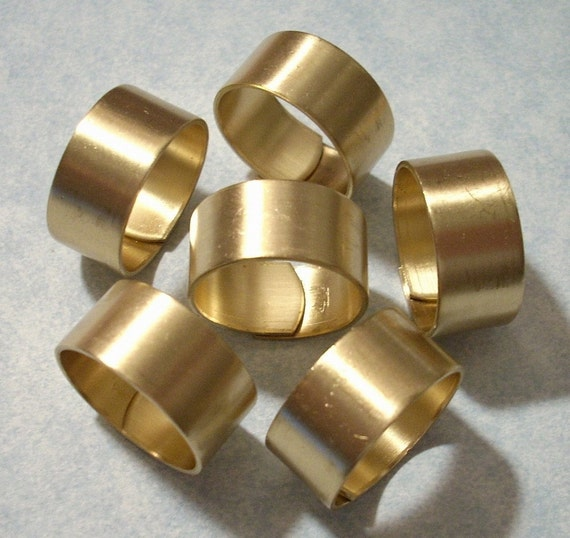 6 Smooth Band Wide Brass Rings Raw Brass Adjustable Rings
