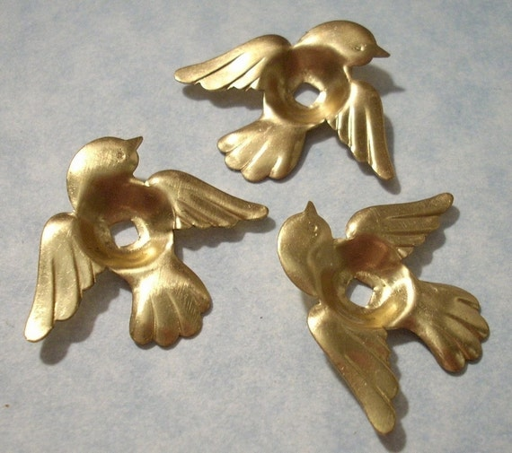 6 Bird Stampings with Cab Settings - Jewelry Supplies