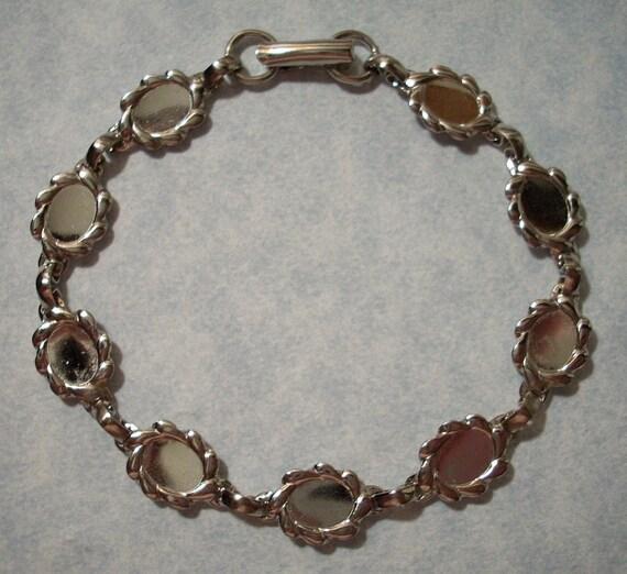 Sterling Plated Bracelet with Six Oval 8 x 6mm Cabochon Settings - Bracelet Blank