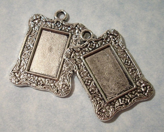 2 Altered Art Picture Frame Pendants - Was 1.75 - CLEARANCE SALE (See Our Shop Announcement)