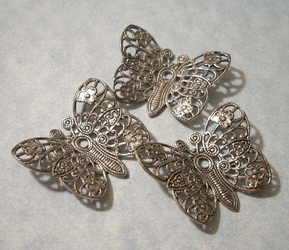 Silver Filigree Butterfly Stampings Pendants 3 pcs