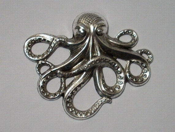 Large Sterling Silver Over Brass Octopus Pendant Charm