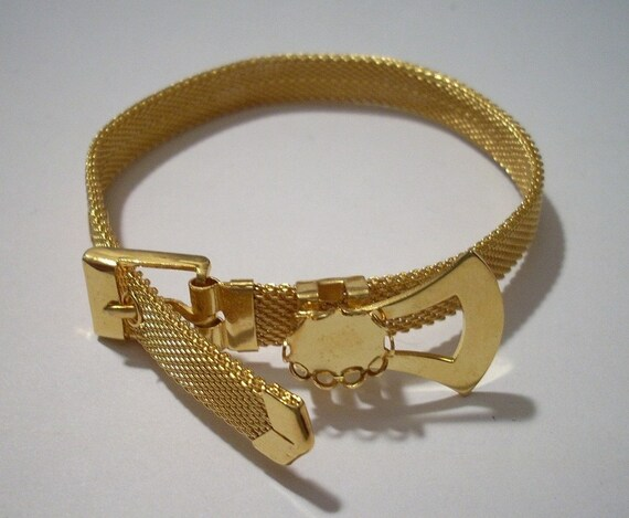 Vintage Gold Mesh Band Belt Buckle Bracelet with 8 x 10 mm
