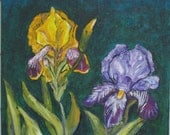 Two Iris -  Original Acrylic Painting -  12 x 12 inches - by Kate Ladd