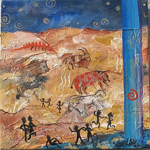 Original Southwestern Cave painting Spirit Animals and Dancers On SALE Now 12x12 by Kate Ladd