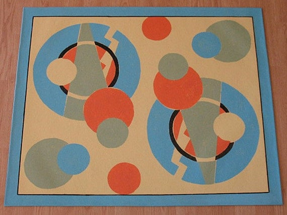 Floorcloth with Art Deco design for your Retro kitchen