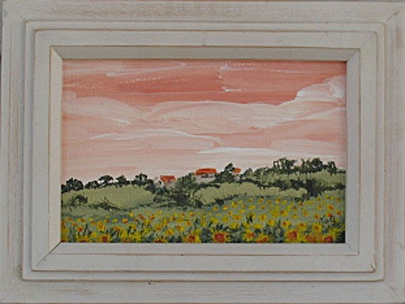 Tile Roofs original acrylic painting  in Shabby Chic frame
