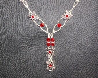 Elegance in Red- Crystal Slider Necklace ON SALE