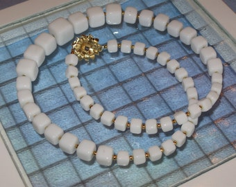 Vintage White Cube Necklace, Revamped