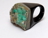 Square Colombian Emerald and Horn Ring (Custom Order for June)