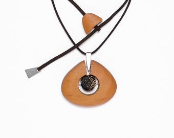 Eco Abacus Drop Recycled Wood and Sterling Silver Necklace