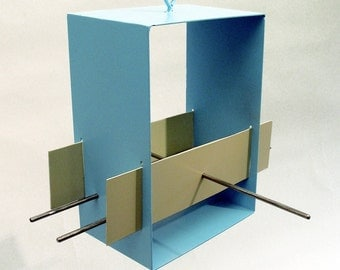 Bird Feeder Cubist Modern in Aqua welded steel