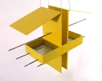 Duo Modern Hanging Bird Feeder in Yellow